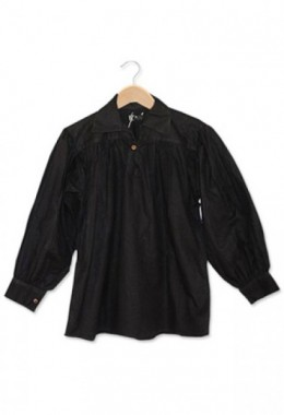 Cotton Shirt, Collared, Button Neck, Blackᅠ