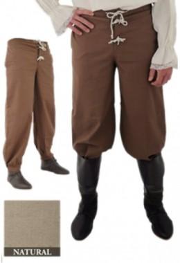 Pants with Elastic Band, Natural